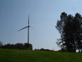 One of several wind turbines in the state; there are currently no off-shore wind farms in America.