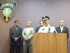 Providence Police Chief Hugh Clements announces the arrest of two suspects in the murder of 12-year-old girl.