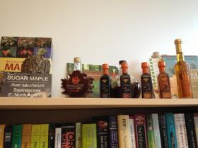 URI professor Navindra Seeram's delicious looking personal collection of maple syrups.