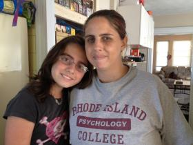 Hannah Rini and her mother Michelle of Pawtucket prepare for the first day of middle school.  Hannah began living as a girl last year.