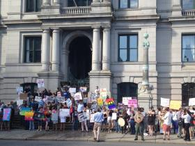 Supporters of same-sex marriage outside city hall in Providence.