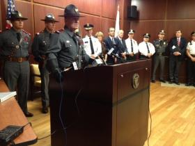 Rhode Island State Police Col. Steven O'Donnell at a press conference announcing a crackdown on underage drinking.