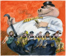 Rolling Stone uses this illustration with Matt Taibbi's story on pension cuts.