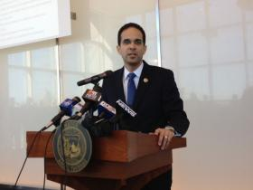 Taveras speaking during a news conference earlier this year.