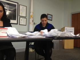 Robyn Golden, administrator for the Rhode Island Labor Relations Board counts ballots on union vote.
