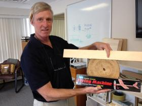 Rich O'Meara of Core Composites says Rhode Island has a strong edge in the budding composite industry. He's shown with different forms of balsa wood.