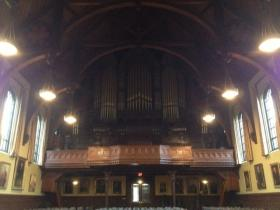 The massive 1903 organ in Sayles Hall at Brown University.