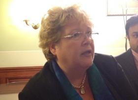 Director of the health benefits exchange, Healthsource RI, Christy Ferguson at a Senate briefing.