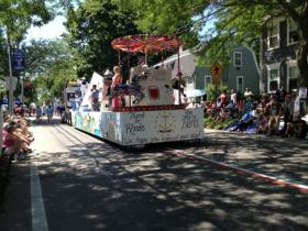 A float moves down Hope St. in Bristol during the 2013 Fourth of July celebration.