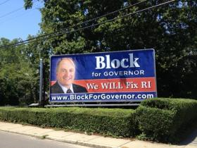 A billboard for Ken Block's race for Governor prior to his switch to the Republican party.
