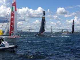 A portion of the America's Cup race held in Newport in 2012.
