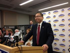 Fung making his announcement for governor at Taco in Cranston
