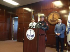 Rhode Island State Police Steven O'Donnell along with Central Falls Police Chief James Mendonca and Mayor James Diossa announce the results of a recent drug bust.