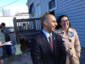Elorza and campaign staffer Emily La Plante following his campaign announcement.