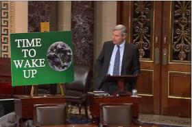 Sen. Sheldon Whitehouse on the Senate floor Wednesday making his 50th speech on climate change.