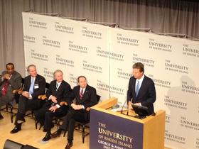 Former CVS CEO Tom Ryan at URI's unveiling of his $15 million donation for brain science research.