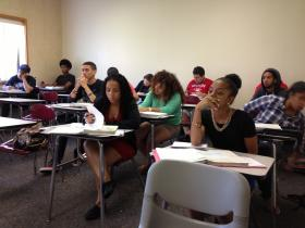 High school students taking part in a summer math high school program at CCRI.