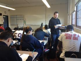 A ninth grade English class at Central Falls High School