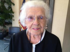 Mary Poncin, a greeter at Kent Hostpital, has been working since 1928.