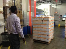 Boxes ready for shipment to Syria
