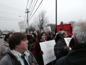Protestors rally outside Wendy's in Warwick for wage hikes for fast-food employees in Rhode Island.