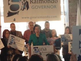 State treasurer Gina Raimondo announces her bid for governor in Pawtucket.