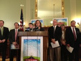 Senate President Teresa Paiva Weed and senate leaders roll out legislation to close Rhode Island's skills gap.