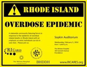 RICARES flyer for an overdose prevention community forum on Feb. 5.