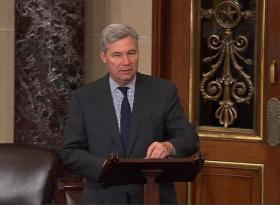 Senator Sheldon Whitehouse on the Senate floor in Washington.