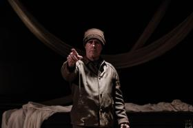 Matthew Fraza as the Poet in Wilbury Theater Group's one-man production 'An Illiad.'