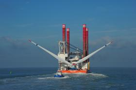 The Bold Tern installing Alstom's HaliadeT 150 6 megawatt wind turbine offshore demonstrator turbine in Belgium. This is the same type of wind turbine Alstom will supply to Deepwater Wind.