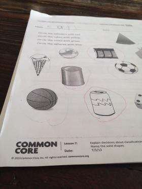 2013 Common Core worksheet used in a Barrington elementary school.