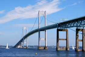 Dividers down the center of the Pell Bridge in Newport should all be installed by the end of the week.