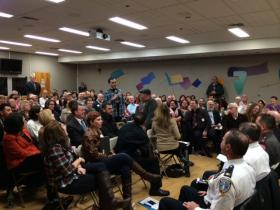 Some 170 people gathered to discuss overdose deaths in Rhode Island at Miriam Hospital.