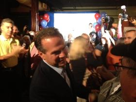 Cicilline celebrating his re-election victory in 2012.