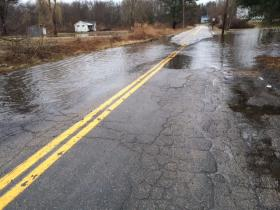 Roads in Westerly are seeing flooding, the Pawcatuck River was two feet above the flood stage on Monday.