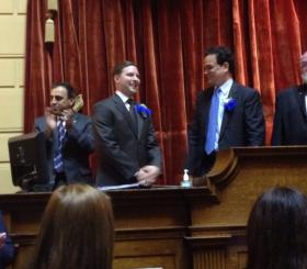 Anzeveno, left, with Marcus LaFond and Speaker Fox, applauds Fox's re-election as speaker in January 2013