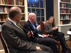 The Providence Center's Jim Gillen, Warwick police dept. Captain Joe Coffey, and Rhode Island Public Radio health care reporter Kristin Gourlay talk overdose and addiction at Tuesday night's Policy & Pinot, our ongoing discussion series at the Providence Athenaeum.
