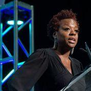 Viola Davis addresses the 2014 Women's Summit at Bryan University in Smithfield, RI.