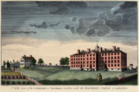 An illustration of Brown University's earliest days in Providence.