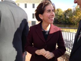 Gina Raimondo is one of four Democratic candidates running for governor, including Clay Pell, Angel Taveras, and Todd Giroux.