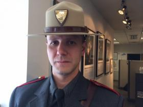 Rhode Island State Police trooper Roupen Bastajian is running this year's marathon after helping victims of last year's bombings.