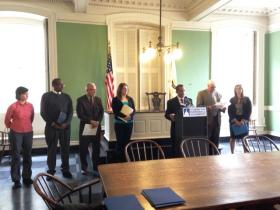 Coalition members speak out against a constitutional convention in Rhode Island.
