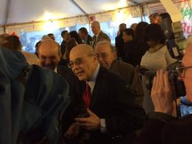 Cianci holding forth during a Federal Hill event to celebrate his 73rd birthday.