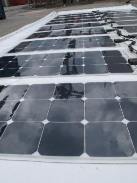 The flexible solar panels will sit flat upon a curved roof.
