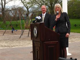 Gov. Lincoln Chafee and DEM Director Janet Coit, who also chairs the Executive Climate Change Council, released a draft report on how to prepare for climate change at a press conference at Bristol Town Beach.
