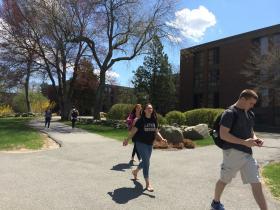 Students at Bryant University in Smithfield, RI.