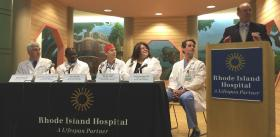Members of the medical team at Rhode Island Hospital who have been caring for the injured circus acrobats appeared at a press conference Wednesday morning. From left to right, Roman Hayda, MD, orthopedic surgeon; Adetokunbo Oyelese, MD, PhD, neurosurgeon; Arthur Bert, MD, chief of anesthesia; Stephanie Farquhar, RN, MS, CCRN, clinical manager, SICU; David Harrington, MD, trauma surgeon; Timothy Babineau, MD, president and CEO, Lifespan, Rhode Island Hospital.