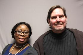 Carl Freese, a formerly homeless man, was interviewed by his co-worker Loretta Johnson.