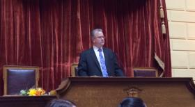 Mattiello at the rostrum during the 2014 House session.